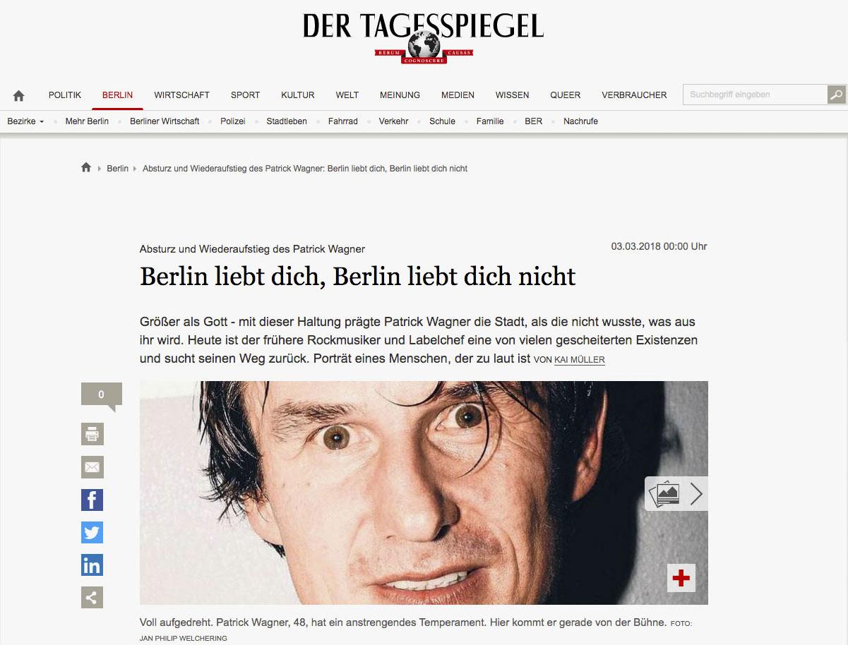 Ein Porträt über Patrick Wagner beim Tagesspiegel, von Kai Müller