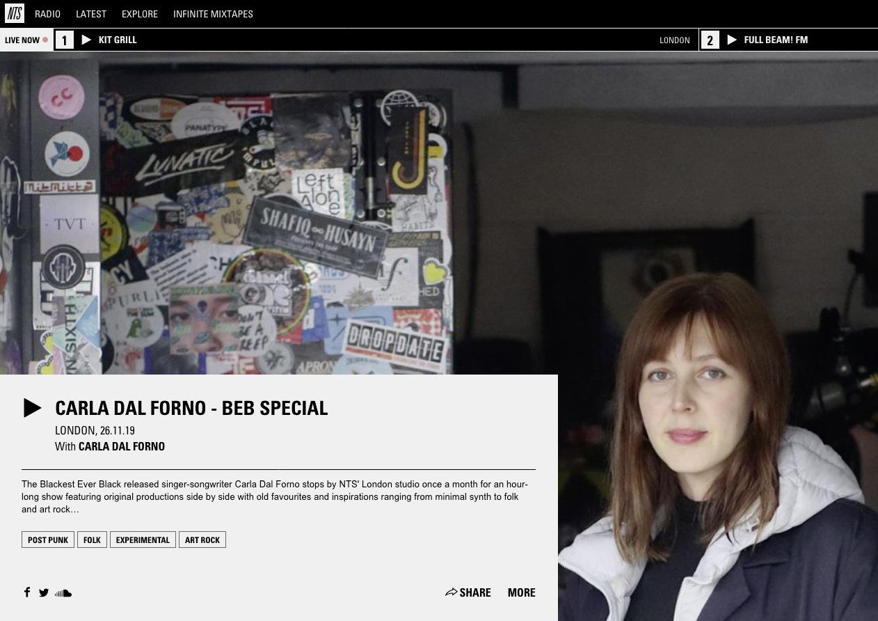 Blackest Ever Black-Special von Carla dal Forno auf der Londoner Radiostation NTS